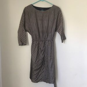 Brooks Brothers 2P gold and blue print dress